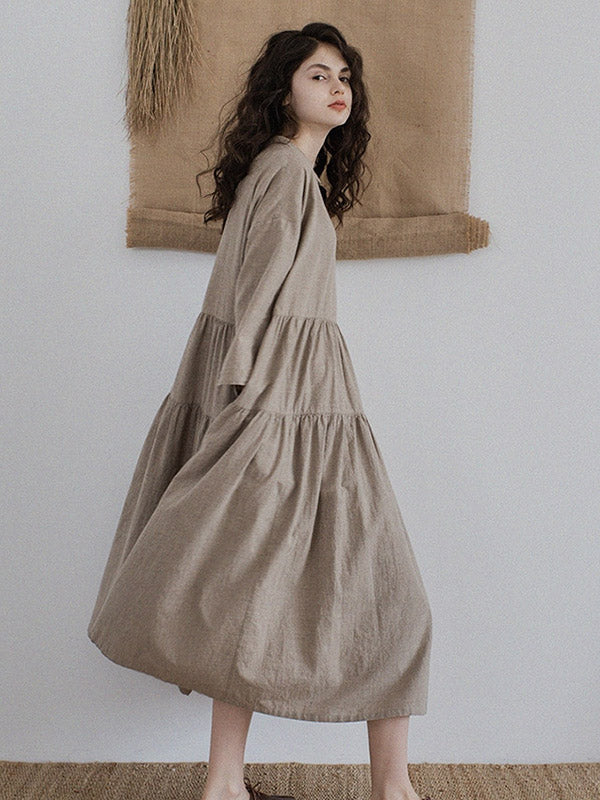 Vintage Split-joint Ruffled Lapel Long Linen Dress