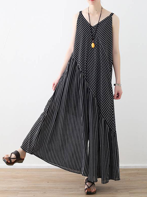 Loose Striped Split-joint Wide-leg Sleeveless V-neck Jumpsuits