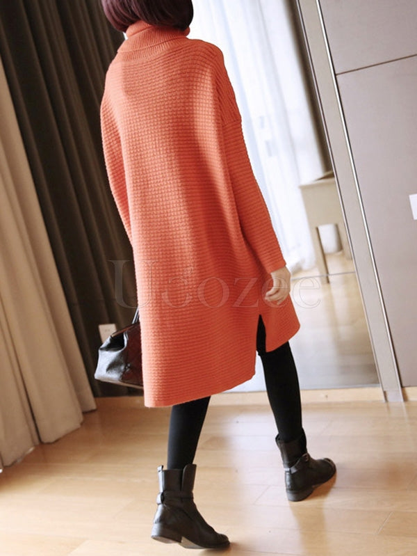 Loose Cropped Knitting High-Neck Long Sweater