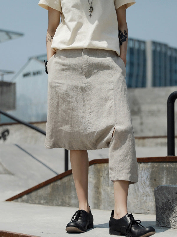Original Designed Irregular Linen Harem Pants