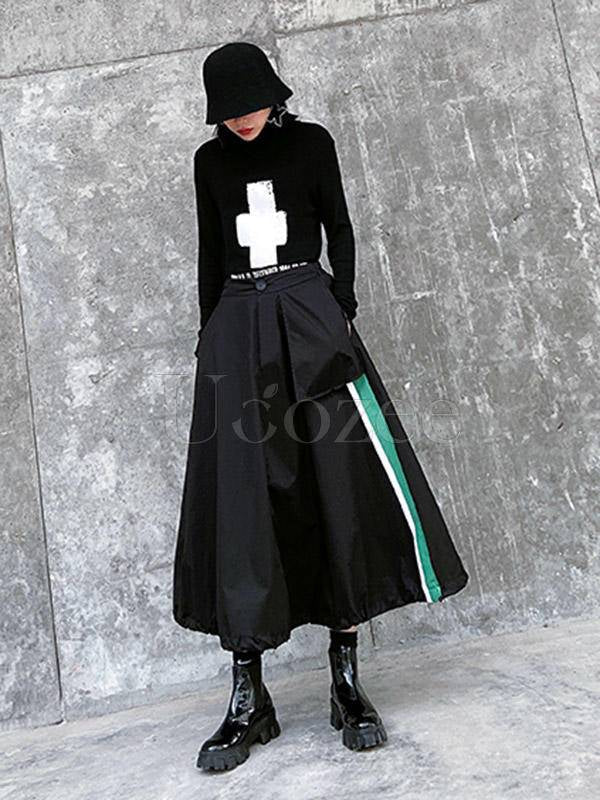 Loose High-Waisted Splicing Color A-Line Skirt