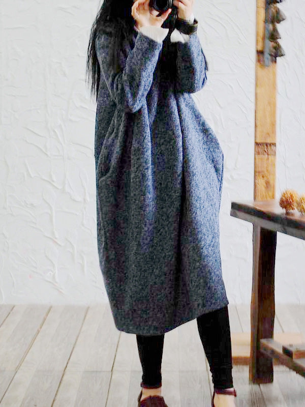 Loose Original Woolen Long Dress