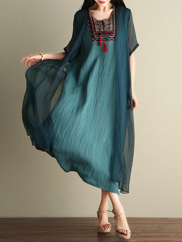 Green Embroidered Ramie Cotton Dress