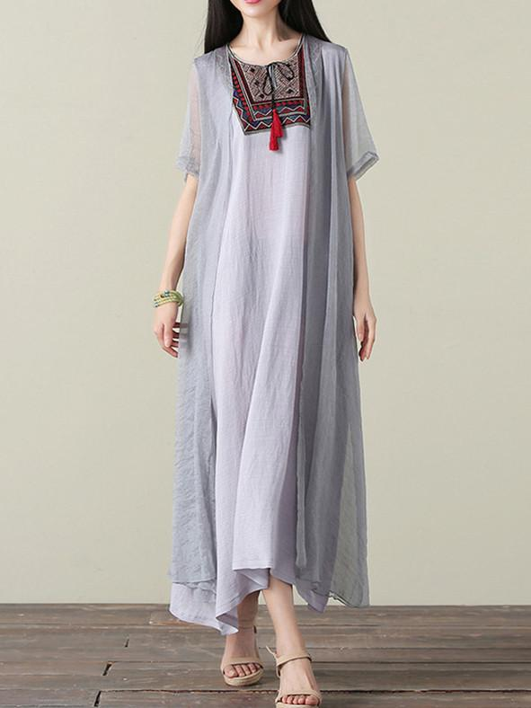 Gray&Blue Embroidered Ramie Cotton Dress