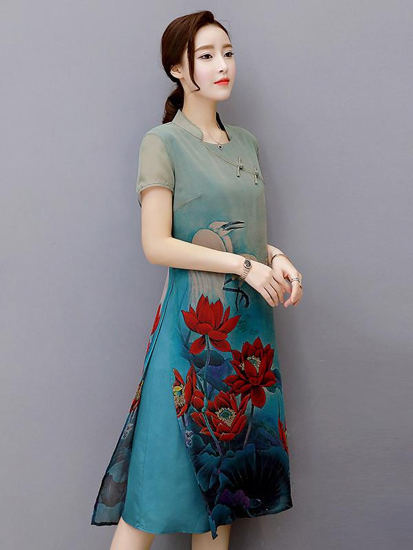 Lotus-Printed Cheongsam Ao Dai Dress