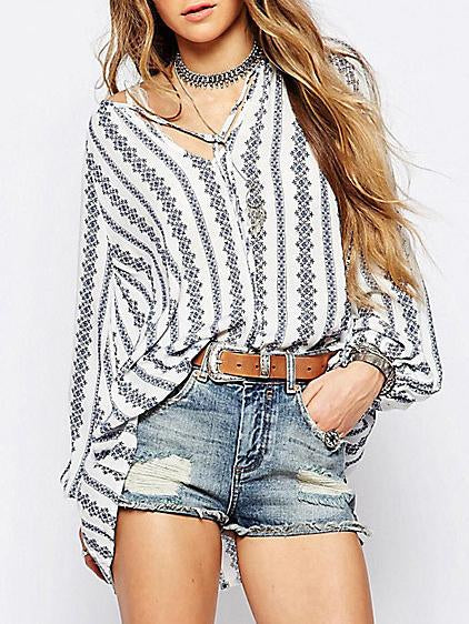 Striped Puff-sleeves Blouse