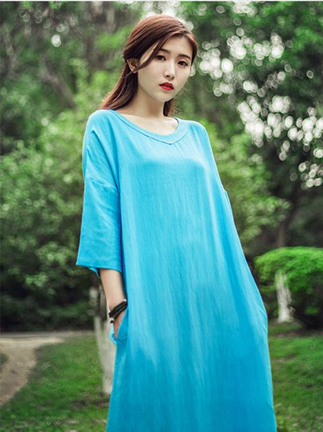 Red&Sky-blue&Pink Ramie Cotton Dress