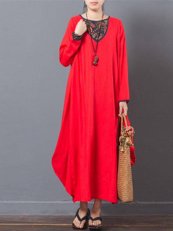 Red&Navy-blue Long Sleeve Ramie Cotton Dress