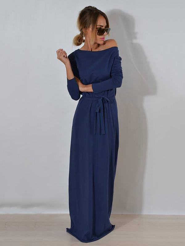 Solid Color Long Sleeves Maxi Dress