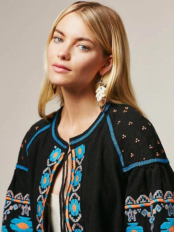 National Embroidered Puff Sleeves Outwear