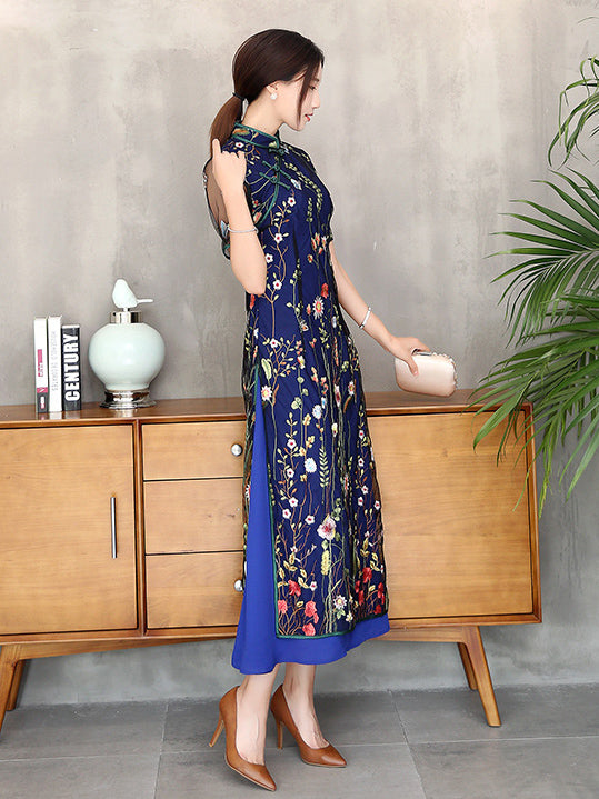 Navy-blue Lace Embroidered Long Cheongsam Ao Dai Dress