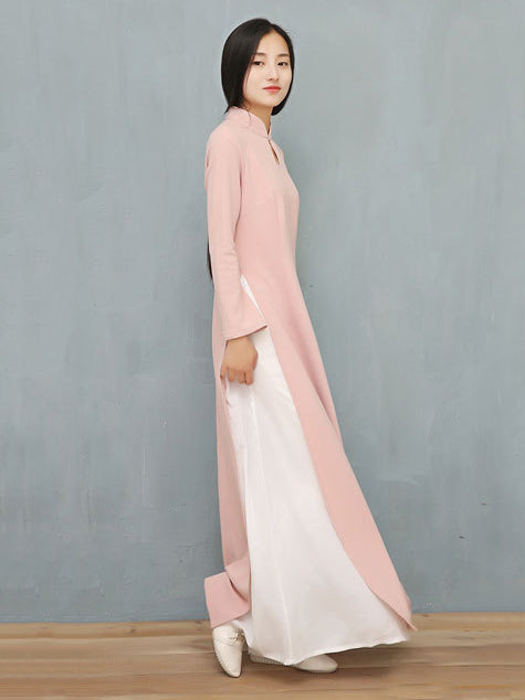 Pink Split-side Long Ao Dai Cheongsam Dress