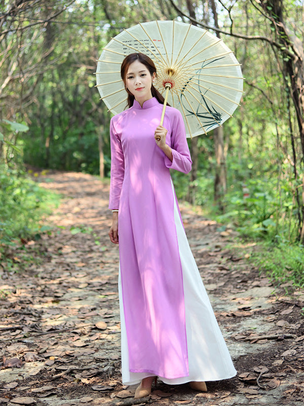 Tradition Purple Long Cheongsam Ao Dai