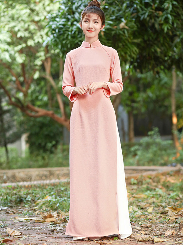 Pink Zipped Split-side Long Ao Dai Cheongsam Dress