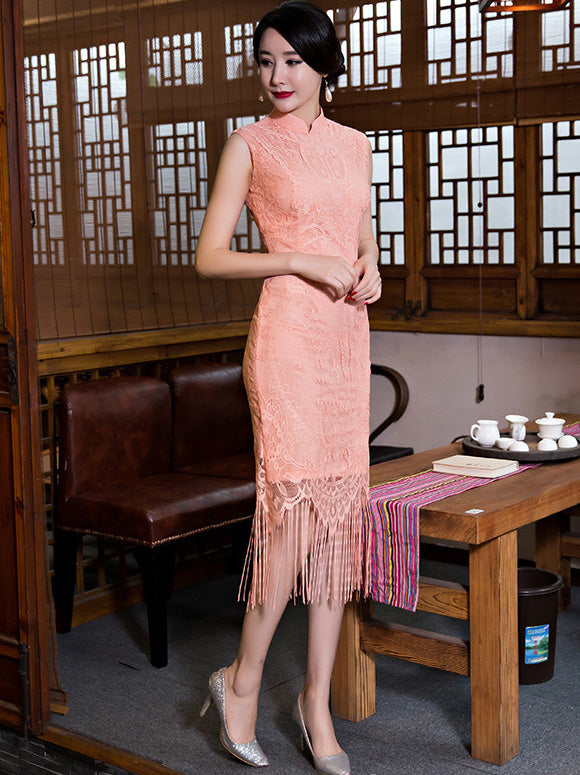 Lace Tasseled Short Cheongsam Dress