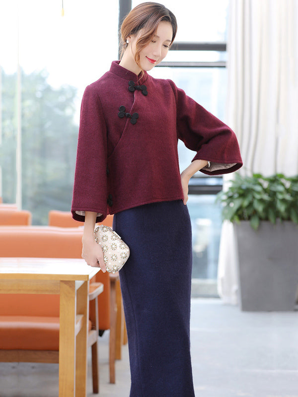 Gray&Burgundy Tradition Cheongsam Tops