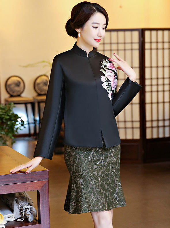 Black&Blue Embroidered Cheongsam Tops