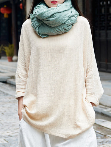 Simple Long Sleeves Ramie Cotton Tops