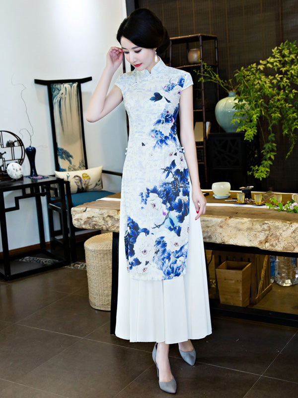 White&Blue Flower Split-side Ao Dai Cheongsam
