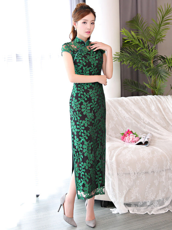 Green Lace Long Cheongsam Dress