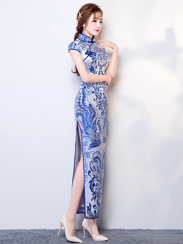 Tradition Blue Long Cheongsam Evening Dress