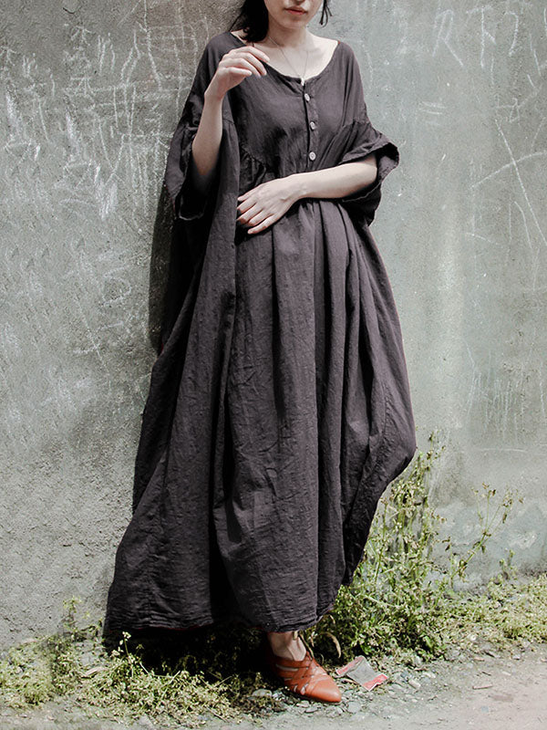 Gray Solid Color Ramie Cotton Long Dress