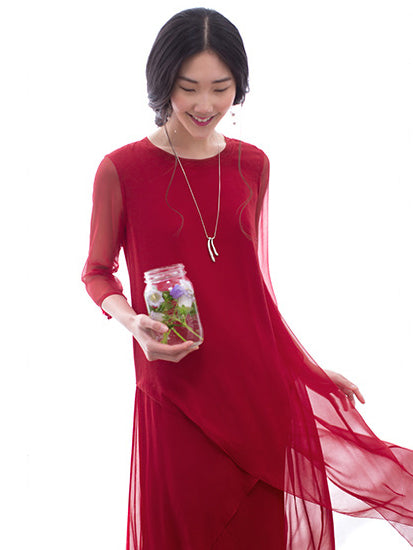 Two Pieces Silk Red Cropped Long Dress