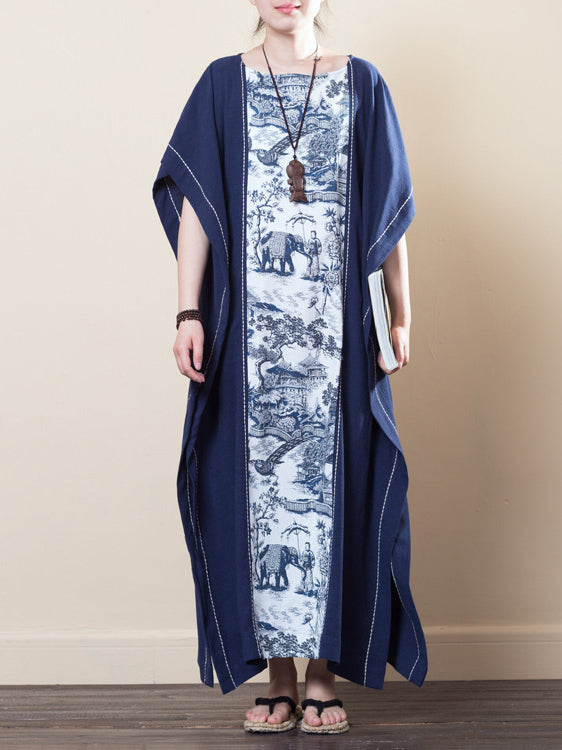 Navy-blue Ramie Cotton Loose Long Dress