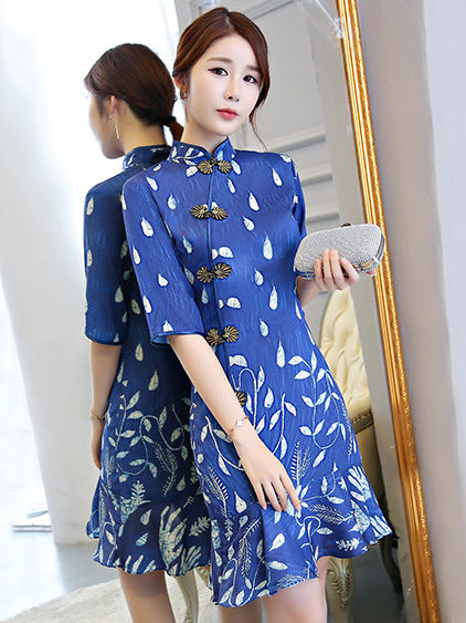 New Blue Chiffon Mermaid Short Cheongsam