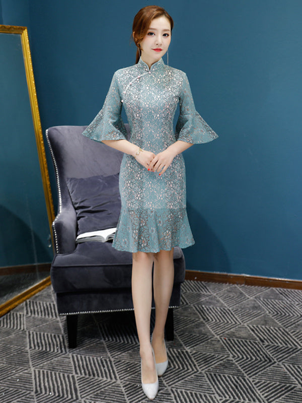 Lace Flared Sleeves Falbala Mermaid Short Cheongsam