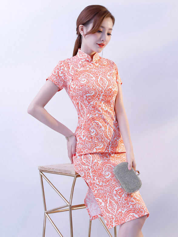 Pink Stretch Cotton Cheongsam Mini Dress