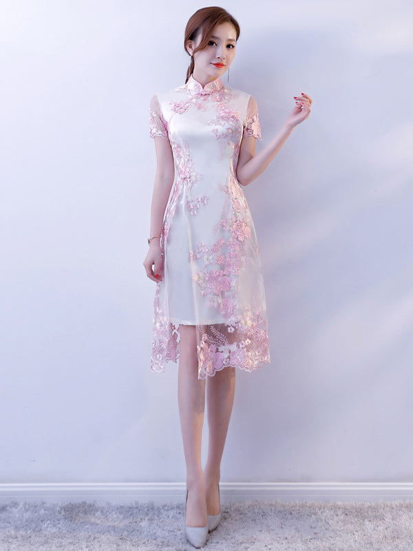 Lace Split-joint Cheongsam Mini Dress