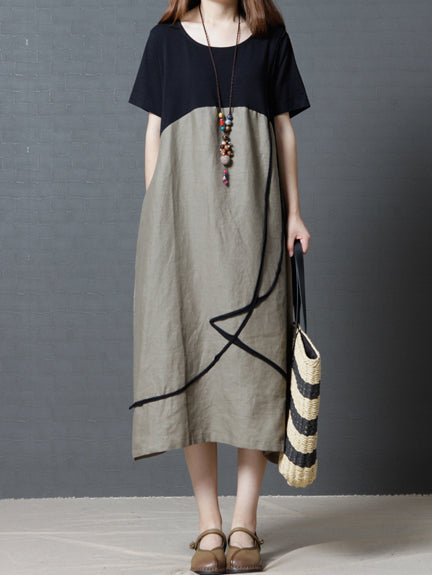 Ramie Cotton Loose Round-neck Long Dress