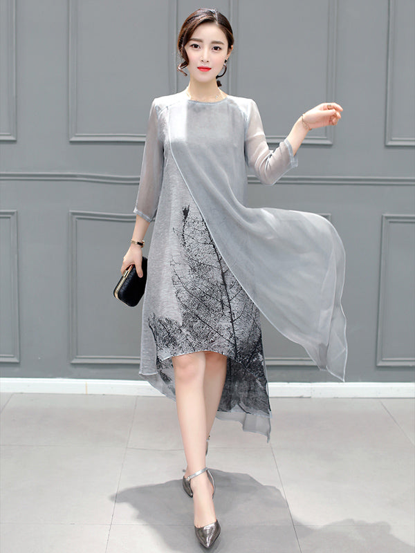 Gray Chinoiserie Traditional Eugenia Midi Dress