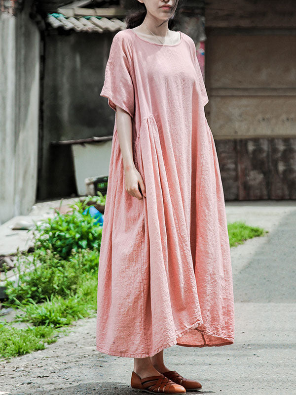 Casual  Cotton&Ramie Round-Neck Long Dress