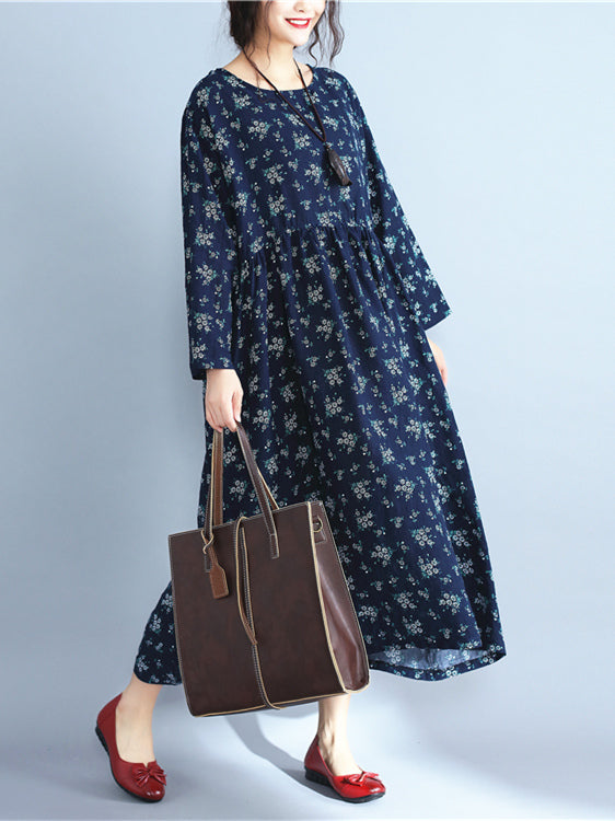 Navy-blue Printed Ramie Cotton Long Dress