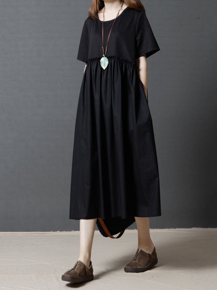 Ruffled Split-joint Round-neck Long Dress
