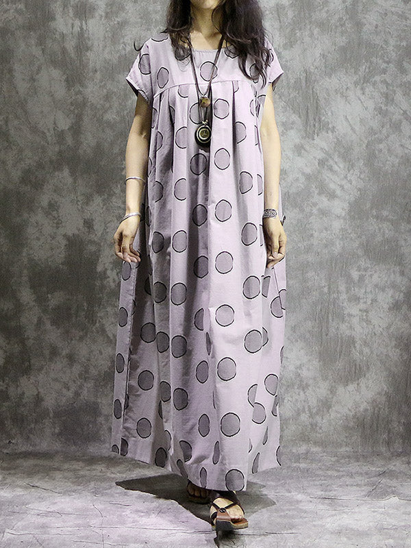 National Ramie Cotton  Split-Joint Long Dress