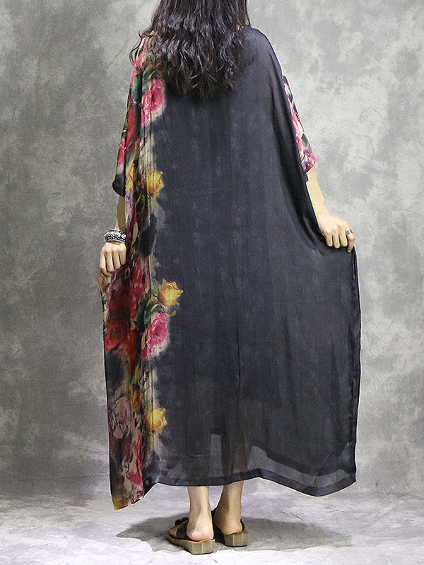 Black Split-Joint Color-Block Maxi Dress