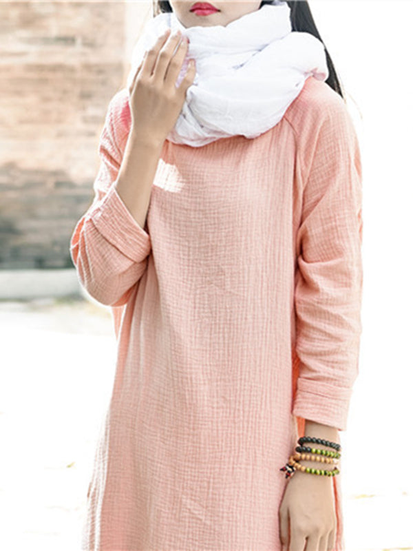 Pink Long Sleeves Ramie Cotton Long Dress