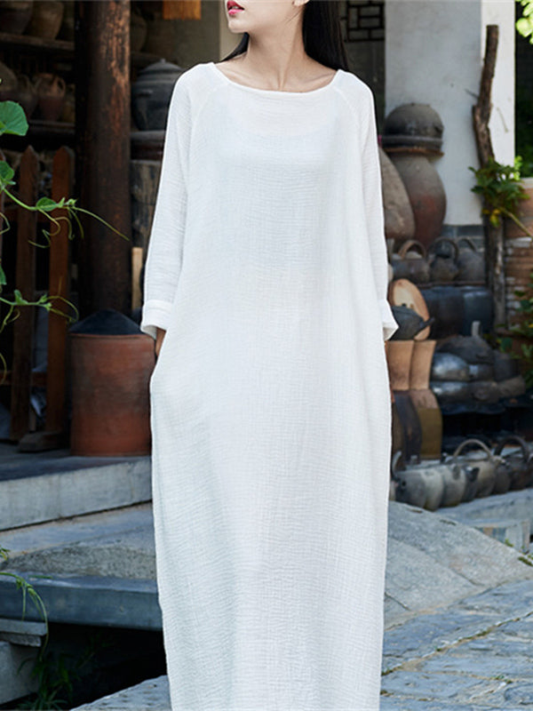 Soft White Long Sleeves Ramie Cotton Long Dress