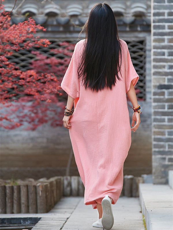 Pink&White Soft Split-joint Ramie Cotton Long Dress