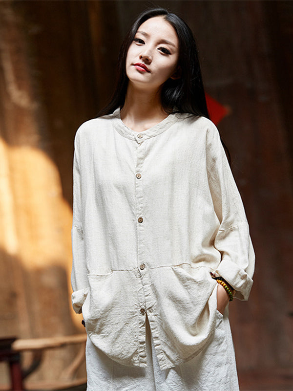 Soft Beige Ramie Cotton Blouse Outwear