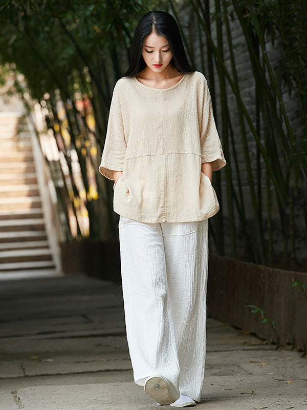 White&Beige Round-neck Ramie Cotton T-shirt