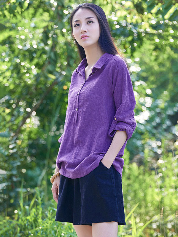 Purple&Fuschia Lapel Ramie Cotton T-shirt
