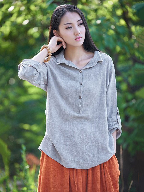 White&Gray&Beige Lapel Ramie Cotton T-shirt