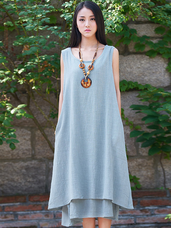 White&Beige&Blue Ramie Cotton Sleeveless Long Dress
