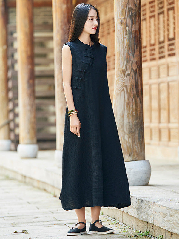 Vintage Black Ramie Cotton Sleeveless Linen Dress