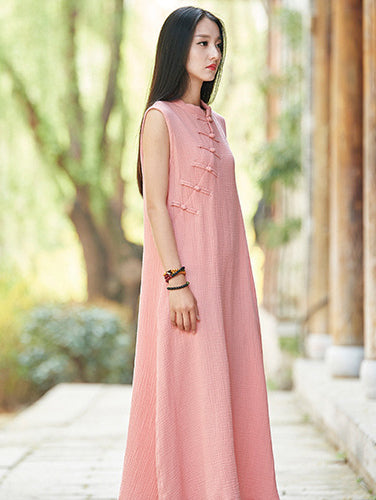 Pink Ramie Cotton Sleeveless Linen Dress