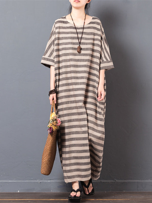 Dark Khaki Loose Striped Ramie Linen Dress
